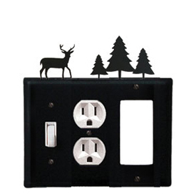 Wrought Iron Deer Combination Cover - Switch, Outlet and GFI Pine Trees