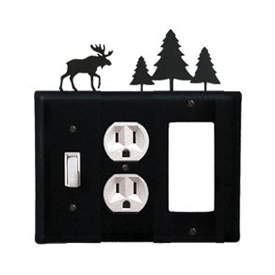 Wrought Iron Moose Combination Cover - Switch, Outlet and GFI Pine Trees