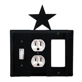 Wrought Iron Star Combination Cover - Switch, Outlet and GFI