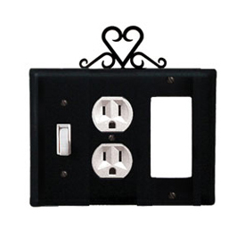 Wrought Iron Heart Combination Cover - Switch, Outlet and GFI