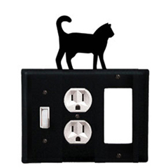Wrought Iron Cat Combination Cover - Switch, Outlet and GFI