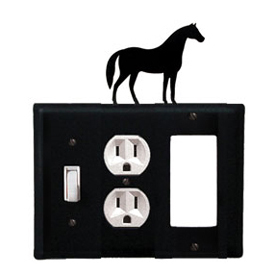 Wrought Iron Horse Combination Cover - Switch, Outlet and GFI