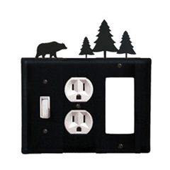 Wrought Iron Bear Combination Cover - Switch, Outlet and GFI Pine Trees