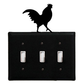 Wrought Iron Rooster Switch Cover Triple