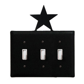 Wrought Iron Star - Switch Cover Triple