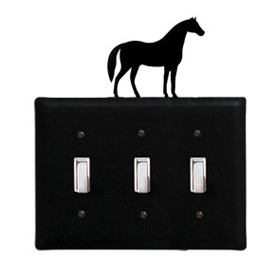 Wrought Iron Horse Switch Cover Triple