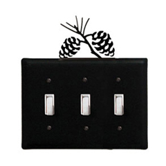 Wrought Iron Pinecone - Switch Cover Triple