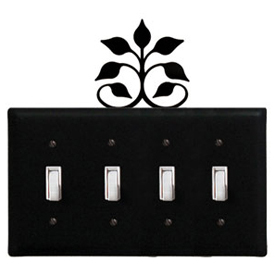 Wrought Iron Leaf Fan - Switch Cover QUAD