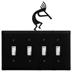 Wrought Iron Kokopelli - Switch Cover QUAD