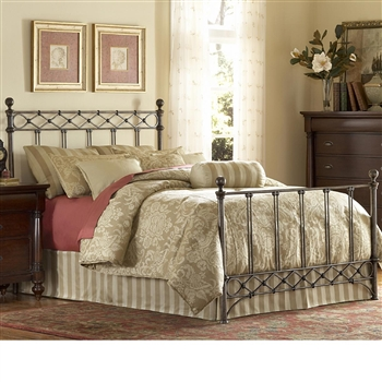 Argyle Iron Bed Diamond Wire Design Copper Chrome Finish