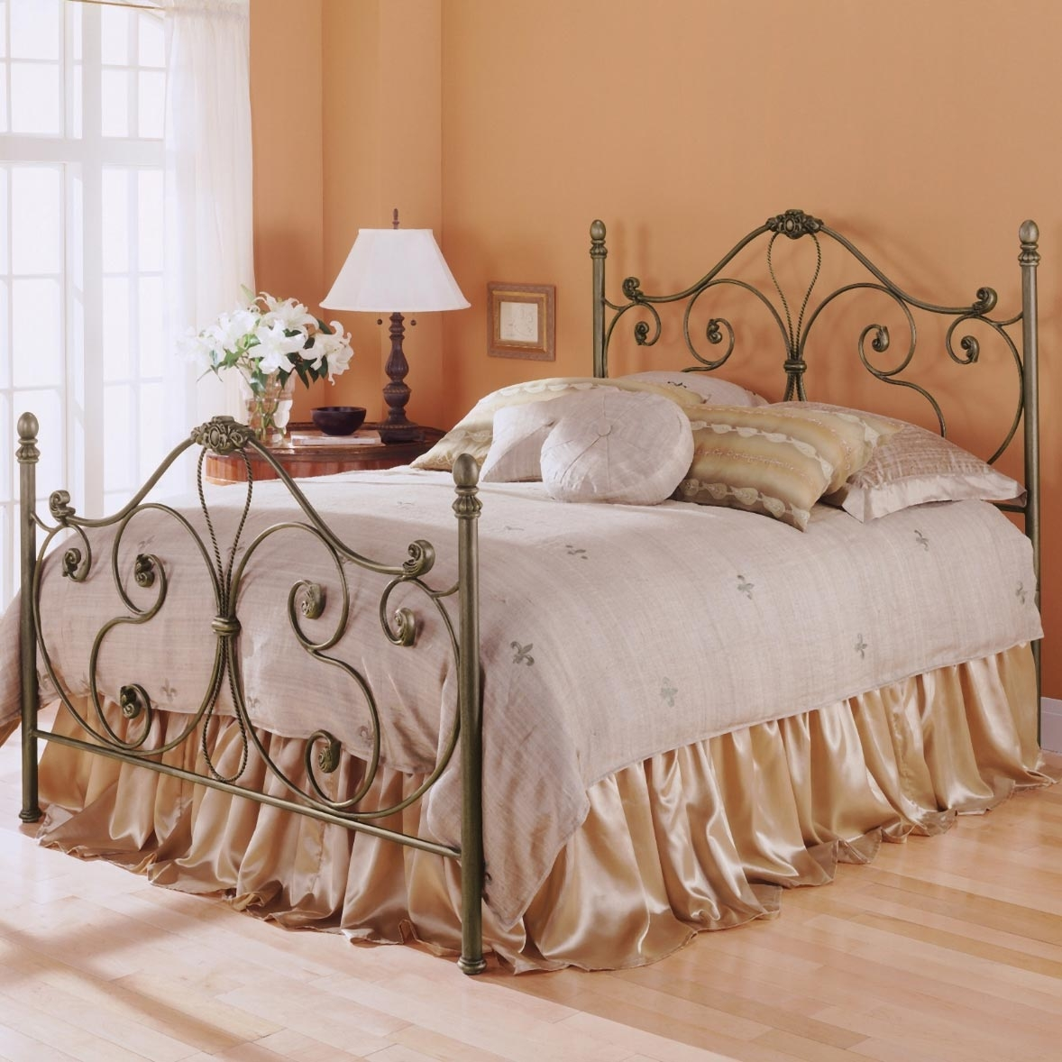 Aynsley Iron Bed With Ornate Scroll Work And Cast Accents Pictured In The Finish