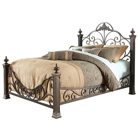 Baroque Iron Bed Ornate Design Glided Slate Finish