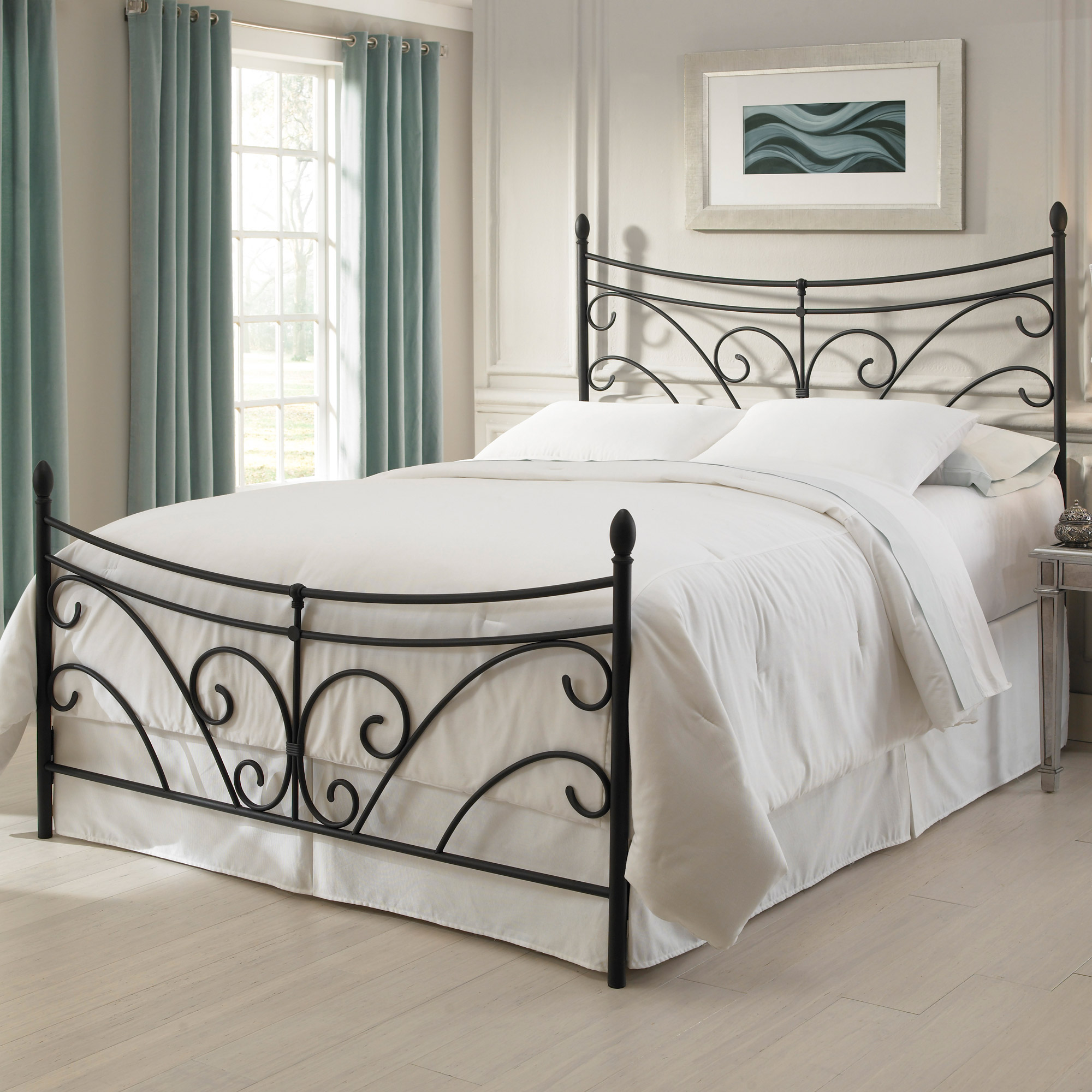 Bergen Iron Headboard Bed Matte Black Curving Scroll Design