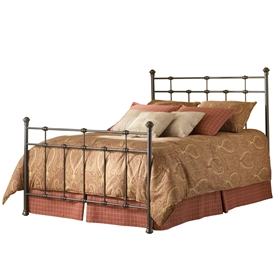 Dexter Iron Bed Hammered Brown Finish Sleek Straight Design