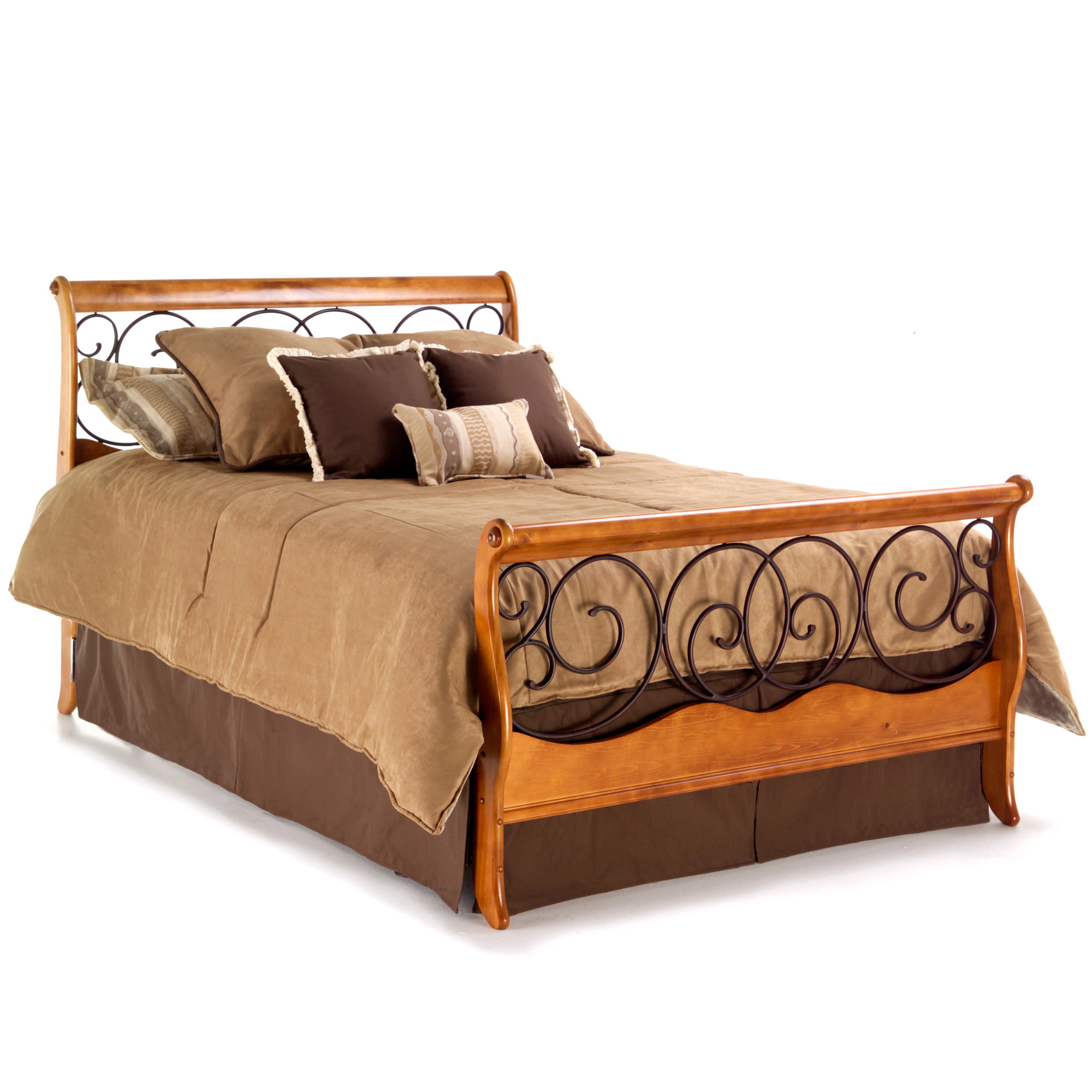 Dunhill Wood And Iron Bed Autumn Brown Honey Oak Finish