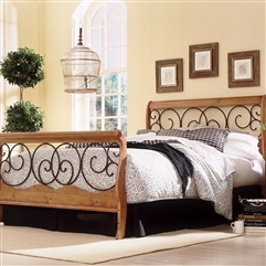 Dunhill Wood&Iron Headboard AutumnBrown/Honey Oak finish