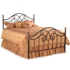 Dynasty Iron Bed Curving Design Autumn Brown Finish