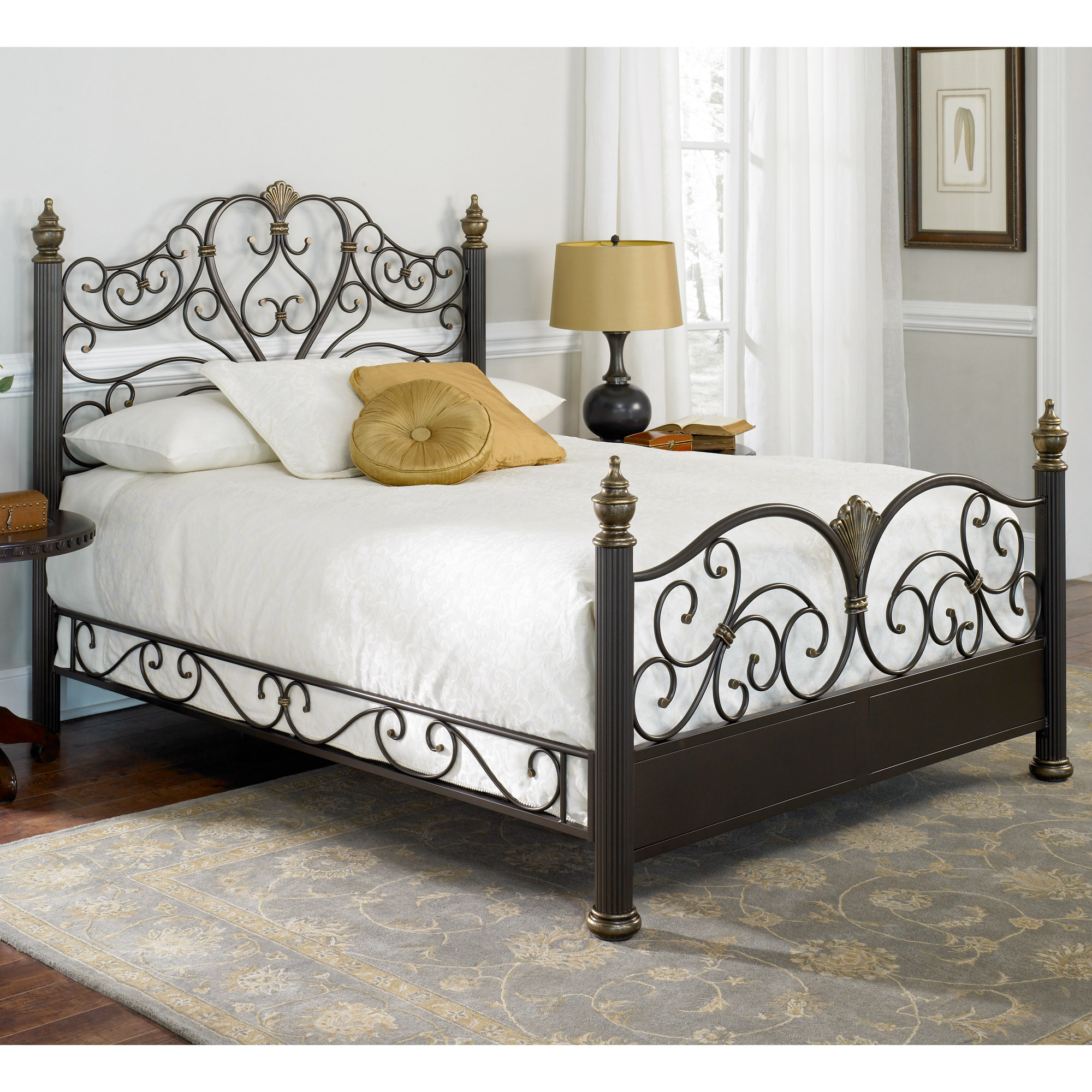 Elegance Iron Bed Ornate Victorian Design Glided Truffle