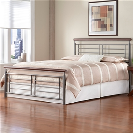Fontane Iron Bed Silver/Cherry Metal Contemporary Design