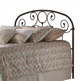 Grafton Iron Headboard Country Style Scroll Work Rusty Gold