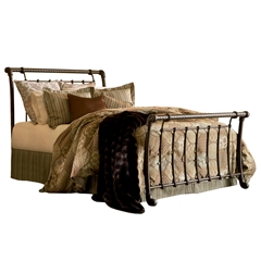 Legion Iron Sleigh Bed Ancient Gold Finish Traditional Design