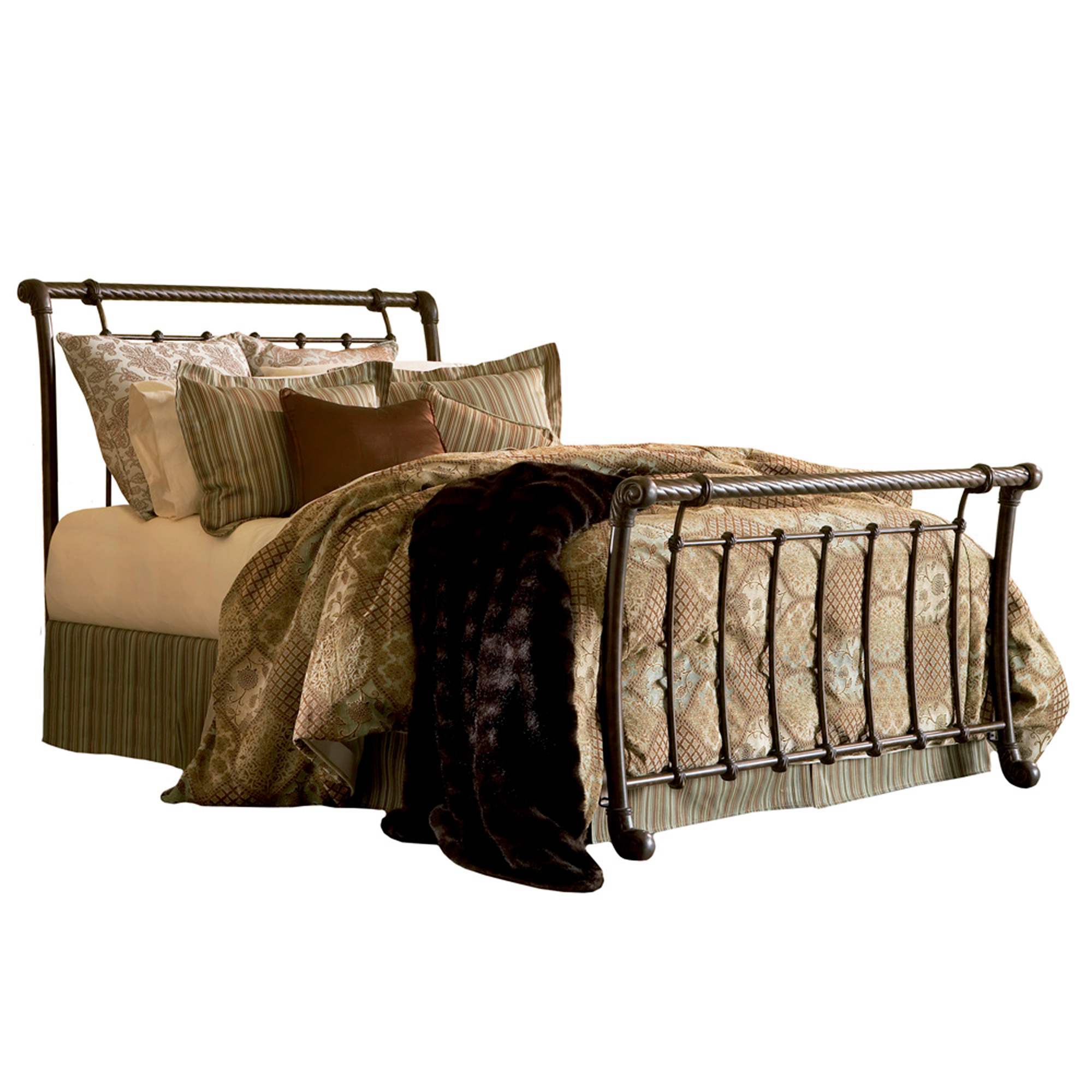 - Legion Iron Sleigh Bed Ancient Gold Finish Traditional Design