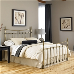 Leighton Iron Headboard Antique Brass Finish Curved Rails
