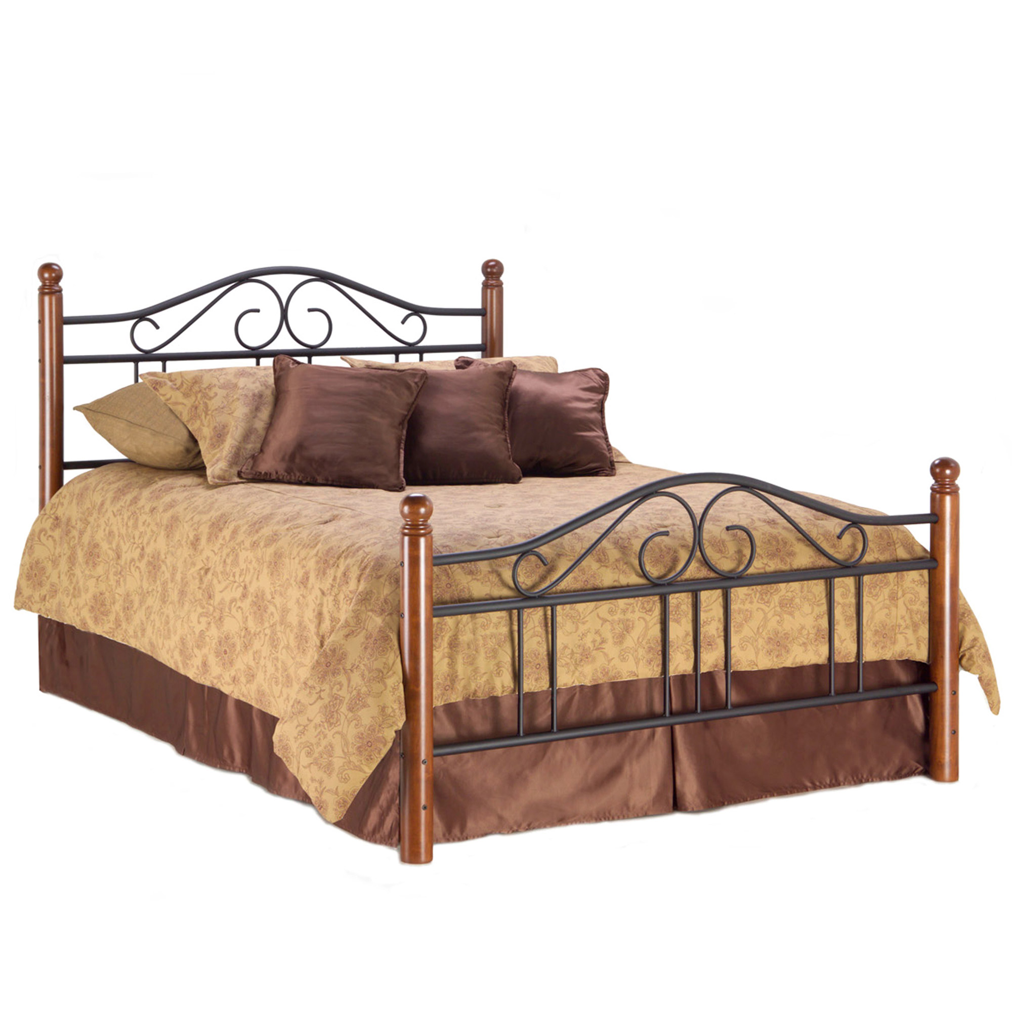 scalloped metal furniture wrought iron bedroom bed complete panels finial posts b autumn size beds home brown and fashion depot frame group dynasty with compressed headboards the king arched n