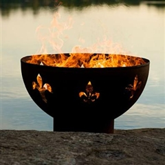 Fleur de Lis Outdoor Fire Pit atistically Hand-crafted by Fire Pit Art and sold at TimelessWroughtIron.com