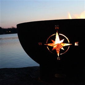 Pictured here is the Navigator Outdoor Fire Pit artistically Hand-crafted by Fire Pit Art and sold at TimelessWroughtIron.com