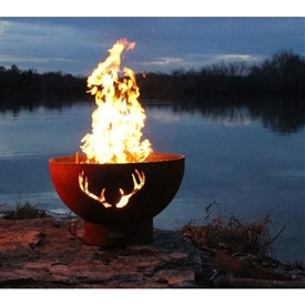Pictured here is the Antlers Outdoor Fire Pit artistically Hand-crafted by Fire Pit Art and sold at TimelessWroughtIron.com