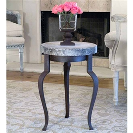Pictured here is the Wrought Iron Versace Table with concrete table top.  Made and designed by Griffin Creek sold at Timeless Wrought Iron