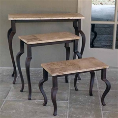 Trolley Nesting Table Set - Wrought Iron Table bases with marble table tops sold at Timeless Wrought Iron