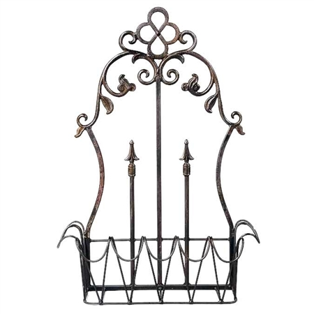 Pictured here is the Conventry Wrought Iron Wall Planter with antique black finish.