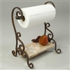 Pictured here is the Bentley Paper Towel Holder with hand-forged wrought iron frame and lower marble shelf.
