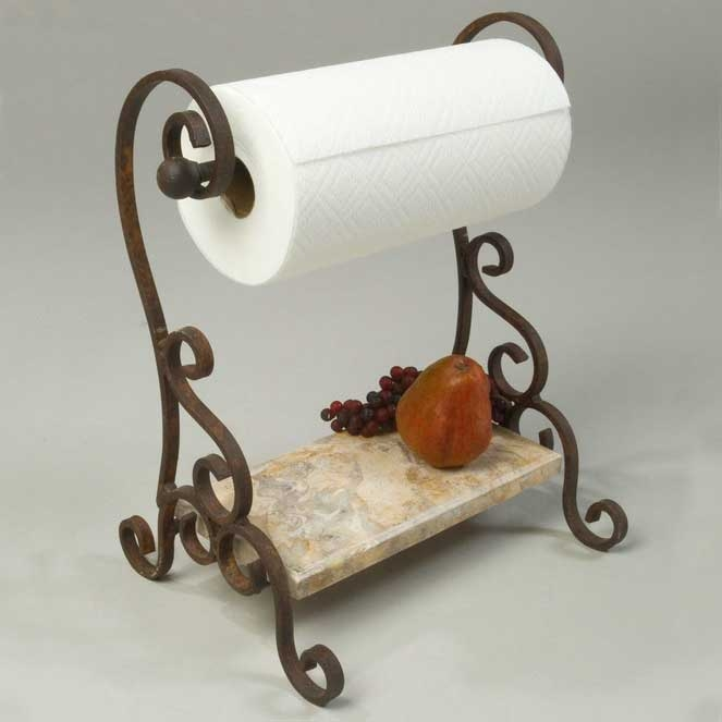Paper Towel Holder With Hand Forged Wrought Iron Frame And Larger Photo