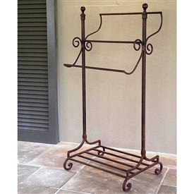 Pictured here is the freestanding Abbey Road Towel Rack with vintage hand-forged wrought iron construction.