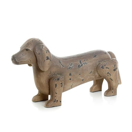 Antique Painted Finish Dachshund Dog