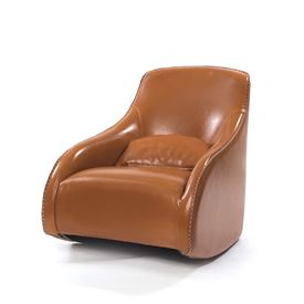 Light Brown Contemporary Style Baseball Glove Leather Chair