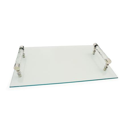 Diamond Cut Glass Handle Tray