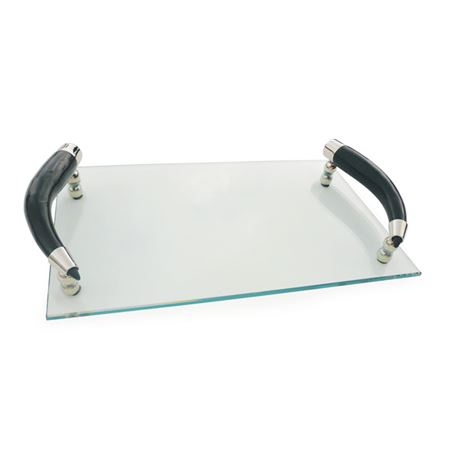 Glass Tray With Curved Horn Handles