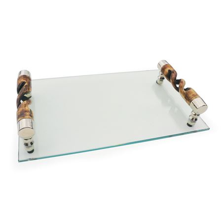 Glass Tray With Swirled Handles