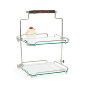 Pictured here is the Polished Nickel Two Tier Serving Stand with Bamboo Handle and glass shelves.
