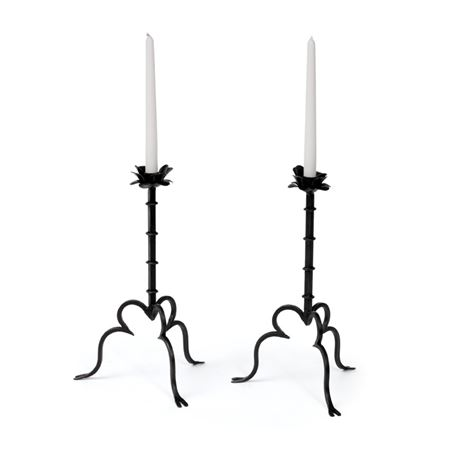 Pair Of Rose On A Vine Candlesticks