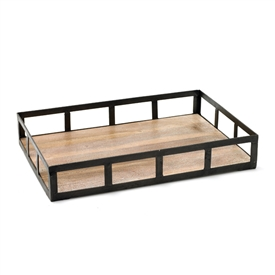 Pictured here is the farmhouse style Spencer Tray with Black iron frame and a washed wood bottom.