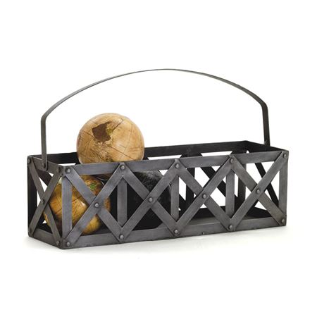 Pictured here is the industrial inspired Transporteur De Vin Accent Basket with vintage iron finish.