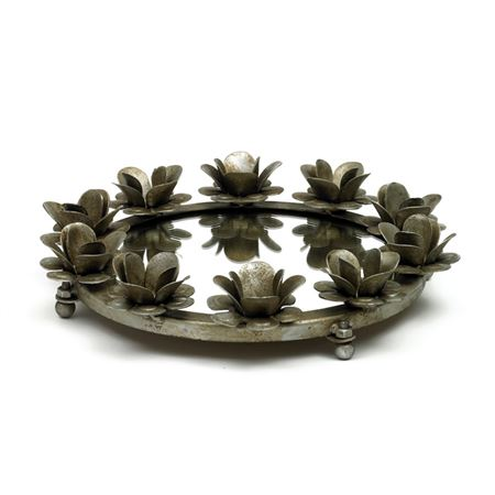 Small Antique Silver Rose Round Mirrored Tray