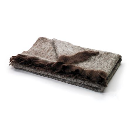 Brown & Beige Mohair Throw