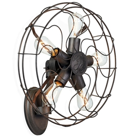 Pictured here in the Fanatic Wall Light, a wall mounted light fixture that looks like an industrial fan with 5 light socks that use 40 watt max bulbs.
