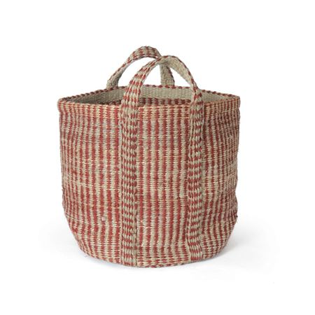Red And Natural Hemp Basket